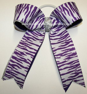 Tigers Purple Silver Ponytail Holder Bow