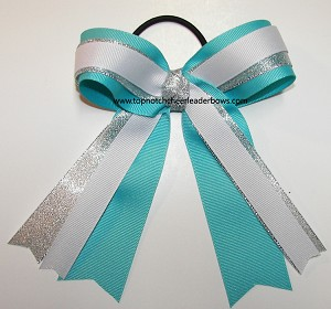 Turquoise White Silver Ponytail Holder Hair Bow