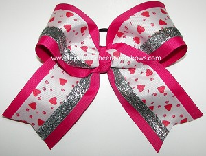 Valentine's Day Hugs & Kisses Silver Big Cheer Bow
