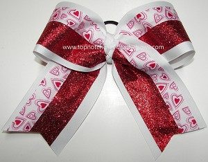Valentine's Day Hugs & Kisses Red Glitter Big Cheer Bow