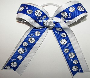 Volleyball Royal Blue Ponytail Holder Hair Bow