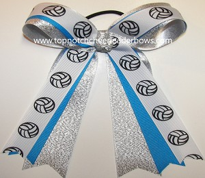 Volleyball Blue Silver Ponytail Bow