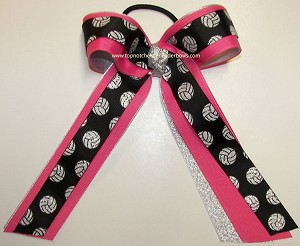 Glitter Volleyball Ribbons Black Hot Pink Ponytail Holder Bow
