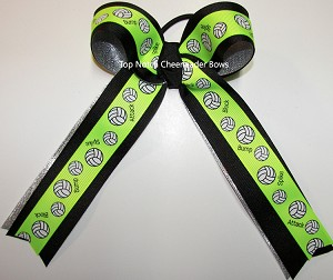 Volleyball Neon Lime Green Black Silver Ponytail Holder