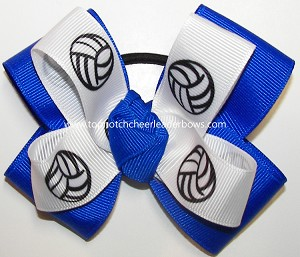 Volleyball Ribbon Team Spirit Pigtail Hair Bow