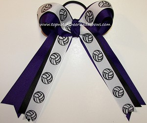 Volleyball Ribbons Purple Black Ponytail Holder Hair Bow