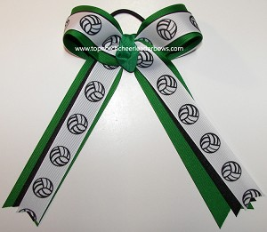 Volleyball Green Black Ponytail Holder Bow