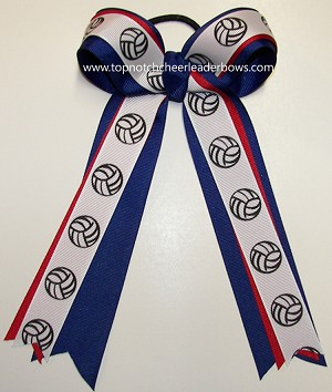 Volleyball Red Blue Ponytail Holder Bow