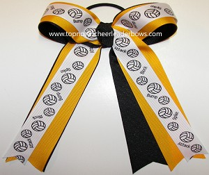 Volleyball Ribbons Yellow Gold Black Ponytail Holder Bow