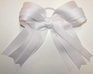 White Bg Ponytail Cheer Bow