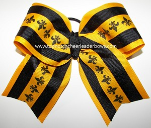 Fleur de lis Black Yellow Gold Big Cheer Bow