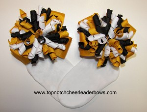 Korkers Yellow Gold Black White Girls Bow Socks