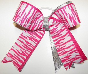 Zebra Hot Pink White Silver Ponytail Bow