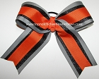 Orange Black Gray Ponytail Holder Cheer Bow