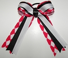 Jester Red Black White Ponytail Holder Bow